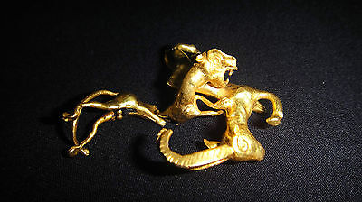 Scarce ! Ancient Russian Scythian Pure 24K Gold Figurine Leopard Hunt A Deer 8