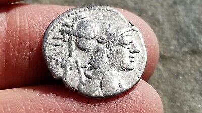 "NGC Roman Republic Silver Denarius, T VETURIUS, Oath Taking, 137 BC, ""Very Fine"" 5"