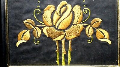 Antique Arts & Crafts Embroidered Panel in wood frame 4