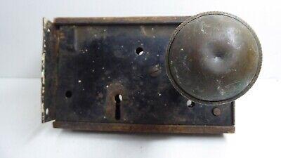 Antique H&T Vaughan Victorian Door Rim Latch Lock Brass Knob 4