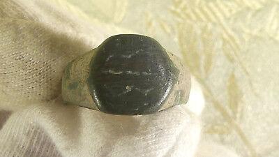 Ancient Roman Small Cast Bronze Writing Stylus & Ring. Child size c. 100-400 AD.