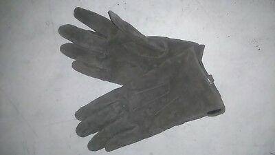 Womens vintage real leather gloves dark beige size10 small W4inch 2