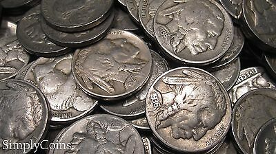 Full Date Indian Head Buffalo Nickel Coin Lot Set Mixed Date Roll 40 8