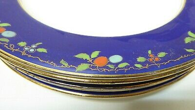 Antique Wedgwood Majolica Pottery Dinner Plates Cobalt Blue Fruit Decorated 2