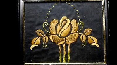 Antique Arts & Crafts Embroidered Panel in wood frame 7