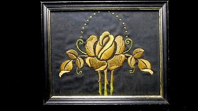 Antique Arts & Crafts Embroidered Panel in wood frame 2