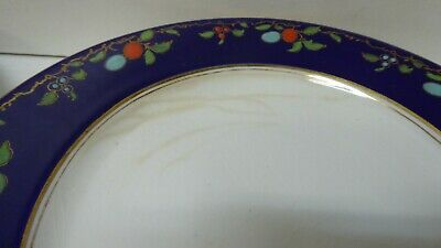 Antique Wedgwood Majolica Pottery Dinner Plates Cobalt Blue Fruit Decorated 3