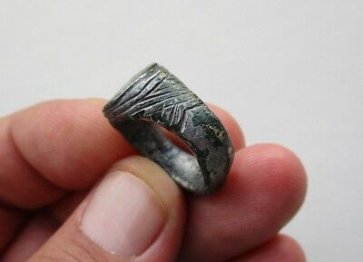 ancient late Byzantine Medieval bronze-silvered carved ring, circa XII century 2