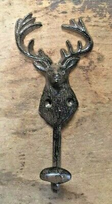 SET of 5 DEER HOOKS rustic bronze brown cast iron heavy duty hooks for lodge 6