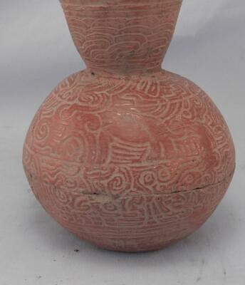 Antique Mayan Pre Columbian Pottery~Incised Red Vessel~Image of An Elephant! 9