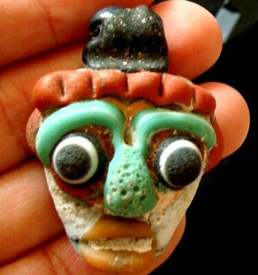 Antique Phoenician Handmade Mosaic Glass Face Pendant 455 4