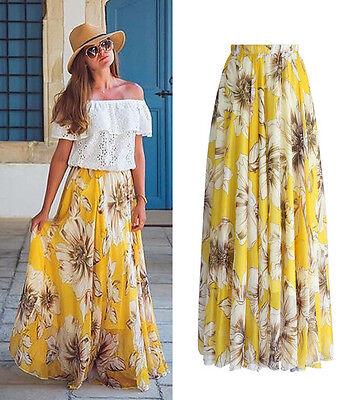 AU Chiffon BOHO Womens Floral Jersey Gypsy Long Maxi Full Skirt Beach Sun Dress 4