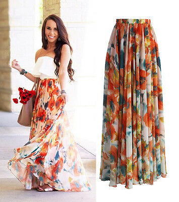 AU Chiffon BOHO Womens Floral Jersey Gypsy Long Maxi Full Skirt Beach Sun Dress 5