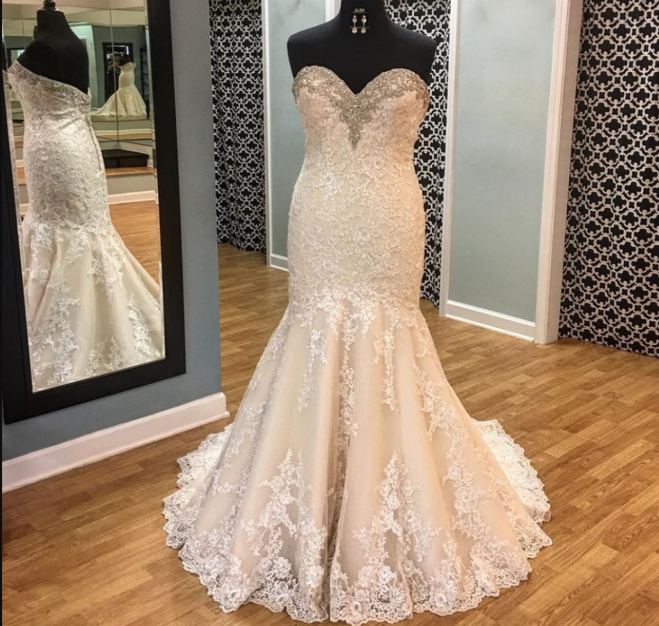 PLUS SIZE CHAMPAGNE Mermaid Wedding Dress Lace Appliques Beaded Bridal Gown