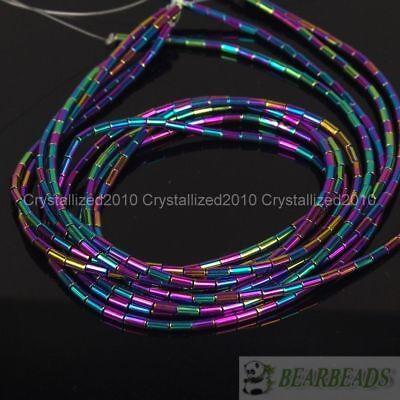 Hematite Gemstone 2mm x 4mm Tube Beads 16'' Metallic Silver Gold Blue Purple 7