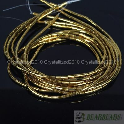 Hematite Gemstone 2mm x 4mm Tube Beads 16'' Metallic Silver Gold Blue Purple 5