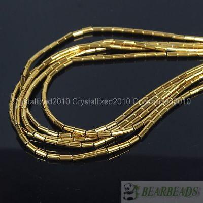 Hematite Gemstone 2mm x 4mm Tube Beads 16'' Metallic Silver Gold Blue Purple 6