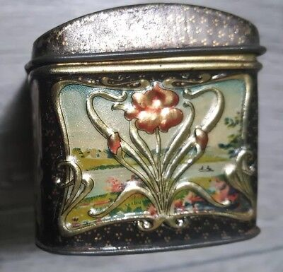 Antique ca. 1910 Russian Popov Brothers Tea Caddy Box hand painted TIN VINTAGE! 5