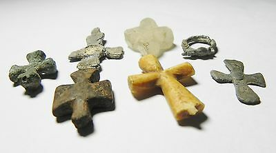 Zurqieh - Byzantine  Egypt - Group Of 6 Cross Amulets, 800 - 1000 A.d 2