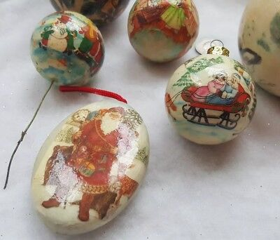 6 Vintage Paper Mache Decoupage Christmas Ornaments Balls Santa Bears Deer Angel 2