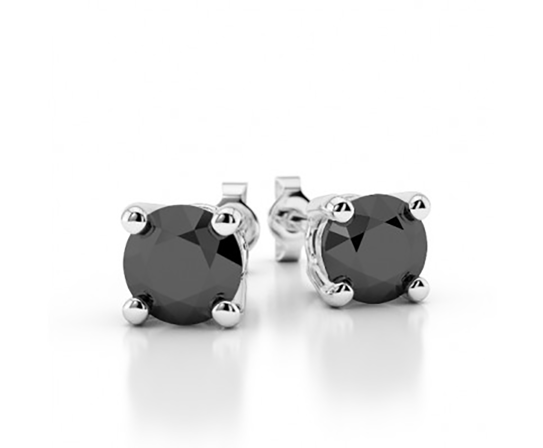 Black Diamond Stud Earrings Women Earrings and Mens Stud Earrings 14k White Gold 5