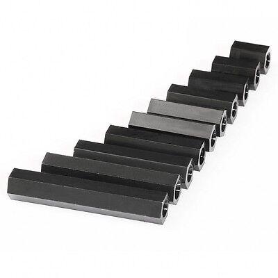 JS sale 50pcs Black Plastic Nylon M3 Hex Column Standoff Spacer  Scr L/_X