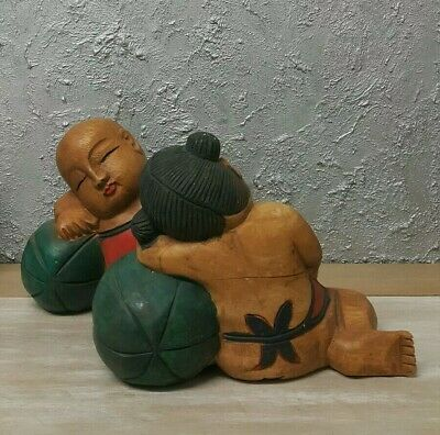 Large Antique Vintage Chinese Hand Carved Wooden Figurines/ Statue Boy with Girl 2
