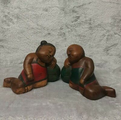 Large Antique/ Vintage Chinese c.20th Hand Carved Wooden Figurine Girl with Boy 2