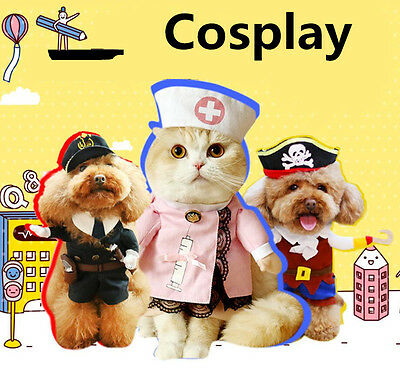 Pet Small Dog Cat Pirate Costume Outfit Jumpsuit Clothes For Halloween Christmas 2
