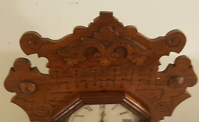 Antique Working 1870's Waterbury Clock Co. Victorian Walnut Parlor Mantel Clock 11