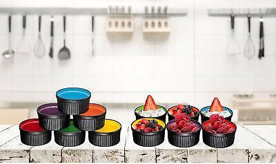 Bruntmor 6 PCS Ceramic Round Ramekins Backing Serving Souffle Dishes 10 OZ Multi