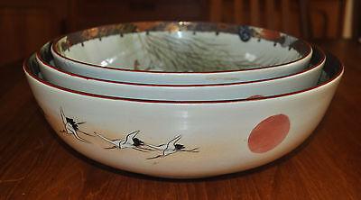 Superb Set of 3 Large Kutani Graduated Porcelain Bowls Hand Painted Meiji Period 8