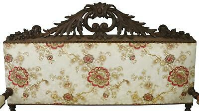 Settee Renaissance Hunting French Antique 1880 Carved Oak  Floral Uph 3