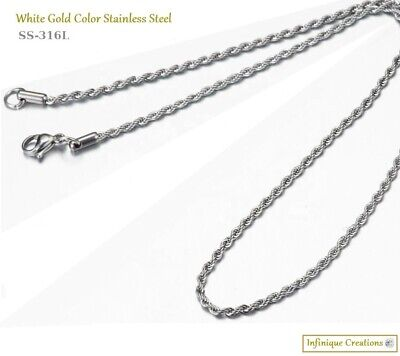 Men Women 316L Stainless Steel Silver Rope Chain Necklace Bracelet 2mm to 8mm 6