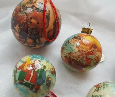 6 Vintage Paper Mache Decoupage Christmas Ornaments Balls Santa Bears Deer Angel 3