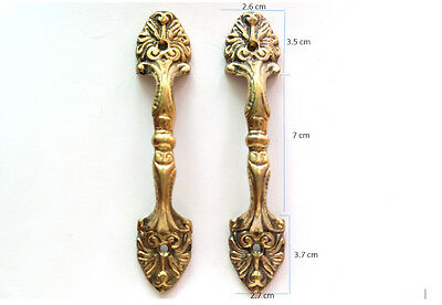Pair of Vintage Antique Door handles cabinet pulls drawer brass knobs hardware C 2