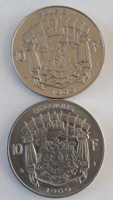 10 Francs, 10 Frank 1969 -1979 Belgique Belgïe Belgium Baudouin FR NL KM# 155 2