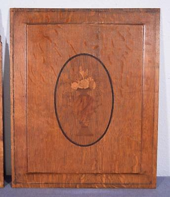 *Pair of Antique French Inlaid Marquetry Solid Oak Panels with Urns 4