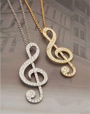 Collana argento oro Swarovski Elements originale G4Love cristalli nota musicale