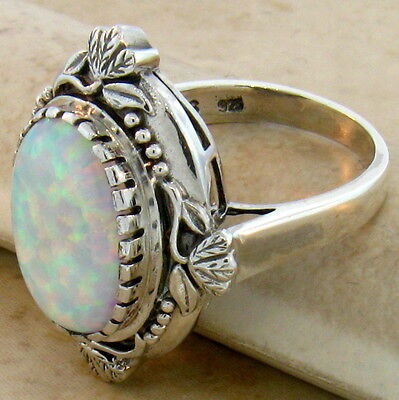 White Lab Opal Antique Victorian Design 925 Sterling Silver Ring Size 9, #222 4
