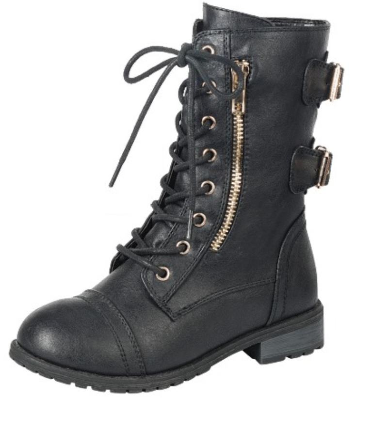 Baby Toddler And Youth Girl/'s Leather PU Military Boots Lace Up Boots  Black-Tan