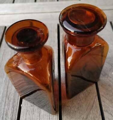 Apotheker - Altes Pärchen für Morphine ohne Etikett-SELTEN! Dreieckige Flaschen 2