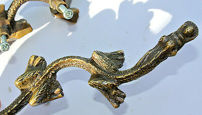 """2 Handles door DRAGON solid heavy BRASS old style vintage L& R drawer PULLS 6"""" B 5"""
