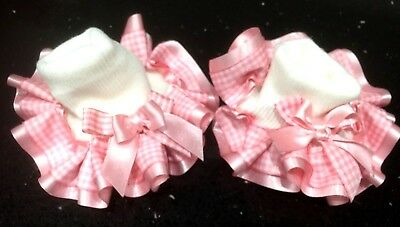 ❤️Gorgeous Gingham Tartan Ankle Socks School Stack Bow Jazziejems Boutique ❤️ 7