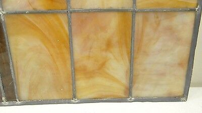 GEOMETRIC RECTANGULAR LEADED-STAINED GLASS WINDOW~HEAVY OBSCURITY~Art Deco 22x15