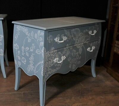 Pair French Painted Commodes Chest Drawers Shabby Farmhouse 2