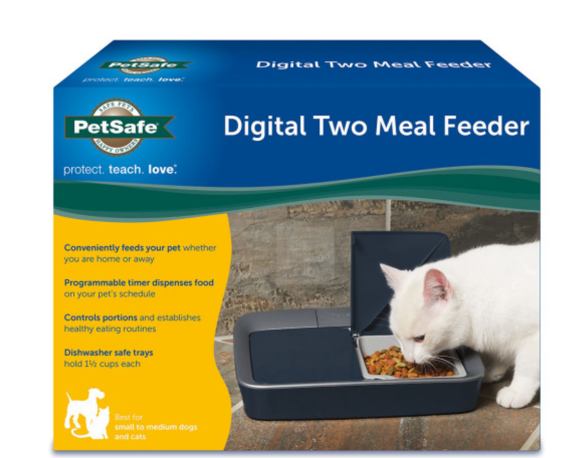 NEW PetSafe Digital Two Meal Pet Feeder - Programs Pets Meals up to 96hrs