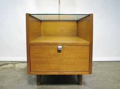 1950s George Nelson For Herman Miller Table Lamp With Glass Top & Single Drawer' 4