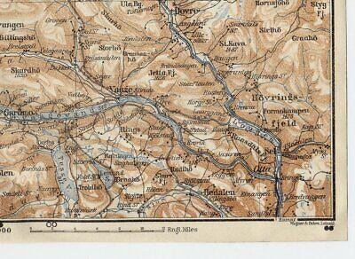 1909 Original Antique Map Of Ottadalen Gudbrandsdalen Valley / Oppland / Norway 2