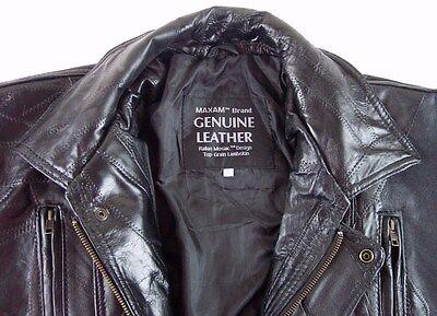 52736fec9 NEW MAXAM MEN'S Black Italian Mosaic Lambskin Leather Jacket Coat, Large
